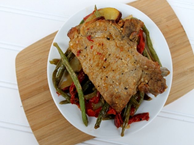 Roasted Pork Chops with Green Beans and Potatoes Recipe