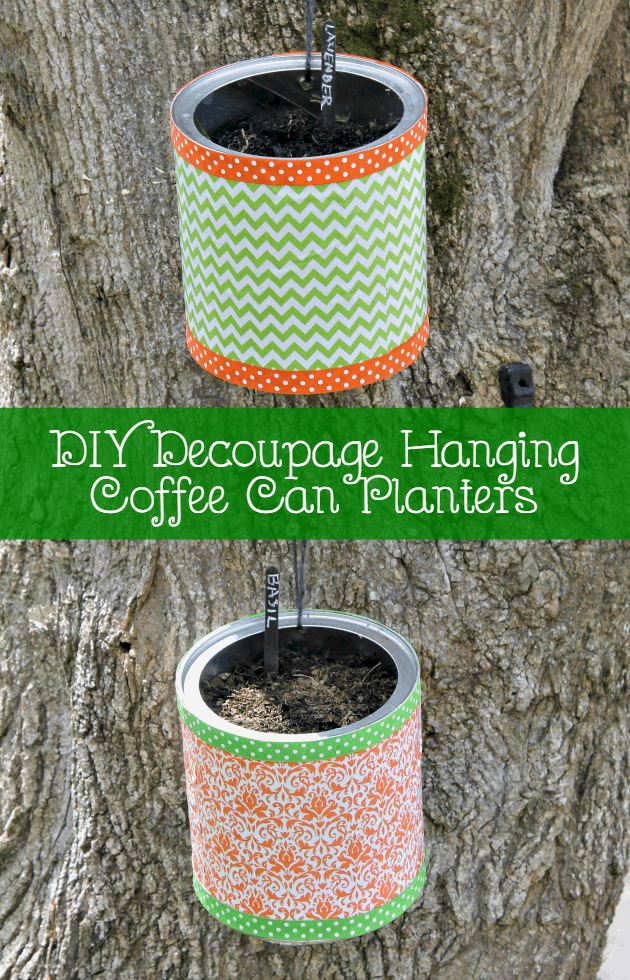 These DIY Decoupage Hanging Coffee Can Planters are an easy gardening craft. They take about an hour and will cost less than $5 to make!