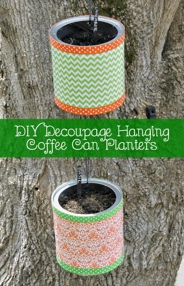 DIY Decoupage Hanging Coffee Can Planters