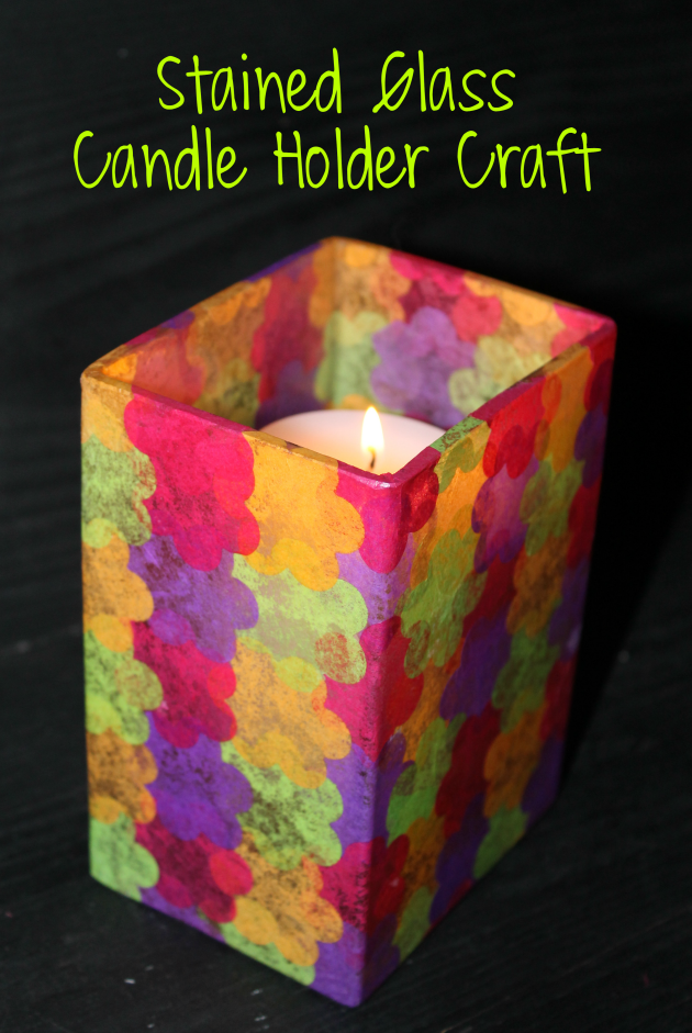 Stained Glass Candle Holder  craft pin