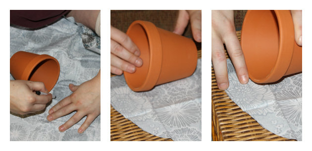 Step 1 of Fabric Covered Flower Pots