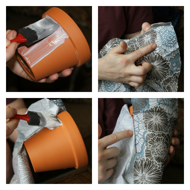 DIY Fabric Covered Flower Pots Step 2