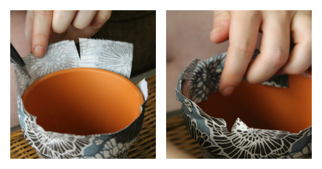 DIY Fabric Covered Flower Pots Step 4
