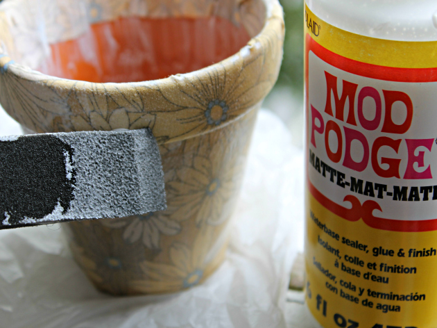 DIY Fabric Covered Flower Pots Step 5