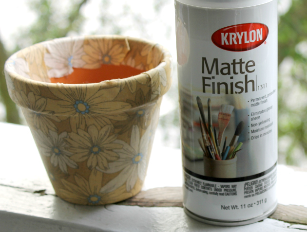 Step 6 of Fabric Covered Flower Pots
