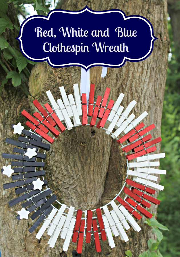 Show off your patriotic spirit with this easy to make, $10 Patriotic Red White and Blue Clothespin Wreath