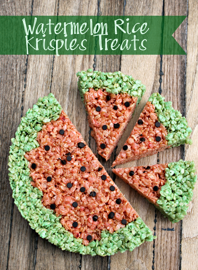 Want a fun after school snack recipe the kids will love? These Watermelon Rice Krispies Treats are easy snacks for kids.