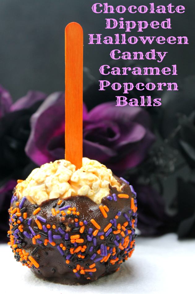 Chocolate Dipped Halloween Candy Caramel Popcorn Balls pin2