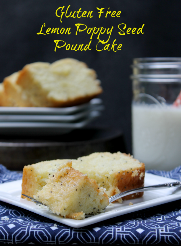 Gluten Free Lemon Poppy Seed Pound Cake pinWho said gluten free could not be rich and decadent? If you are looking for gluten free cake recipes, this Gluten Free Lemon Poppy Seed Pound Cake is perfect for you!