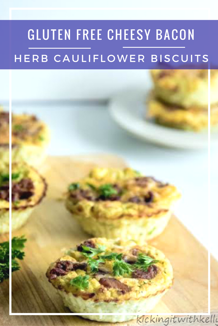 Looking for a Gluten Free snack idea for kids? This Cheesy Bacon & Herb Cauliflower Biscuits recipe is perfect for you!
