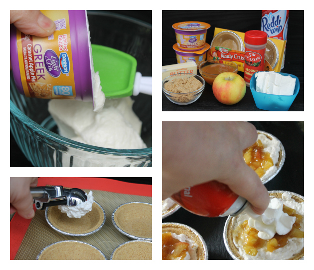 Mini No Bake Caramel Apple Pie Cheesecakes #EffortlessPies Collage