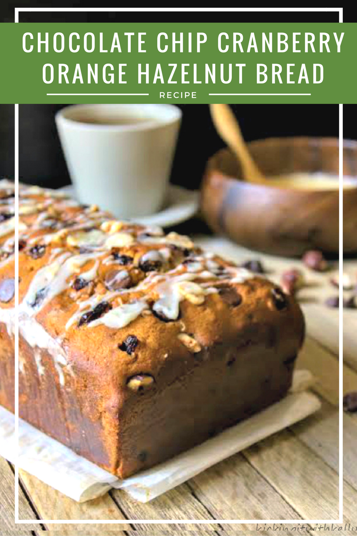 If you want a deliciously moist and sweet dessert bread for the holidays, you must try this Chocolate Chip Cranberry Orange Hazelnut Bread
