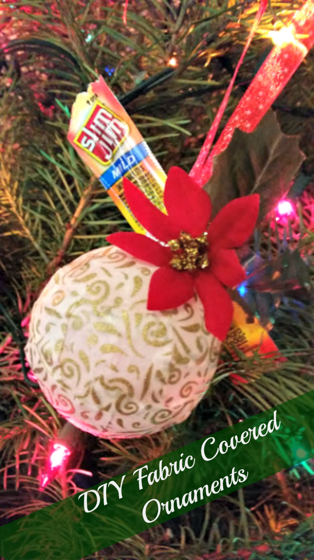 These DIY fabric covered ornaments are a great family craft for the holidays!