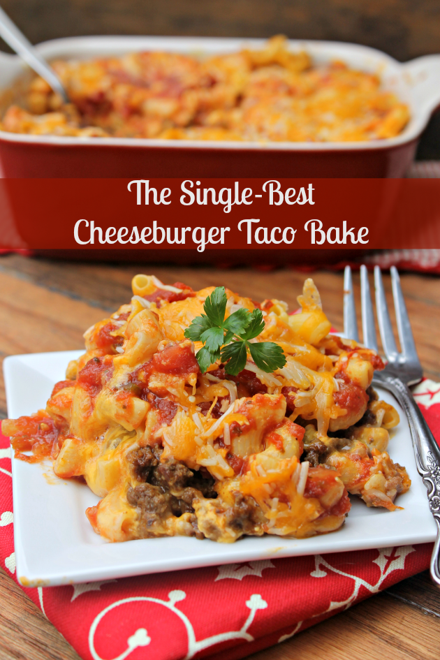 If you are looking for a quick meal your family will LOVE, the title of this recipe says it all! This really is The Single-Best Cheeseburger Taco Bake #ad #CookingUpHolidays