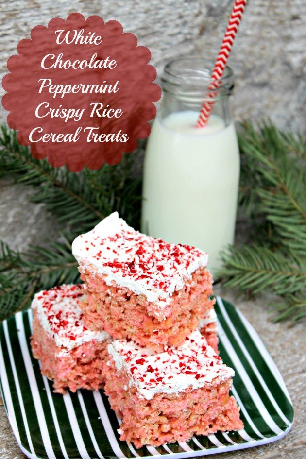 These White Chocolate Peppermint Crispy Rice Cereal Treats are the perfect holiday snack. Share them with everyone on your holiday gift list! #ShareTheHoliday #ad