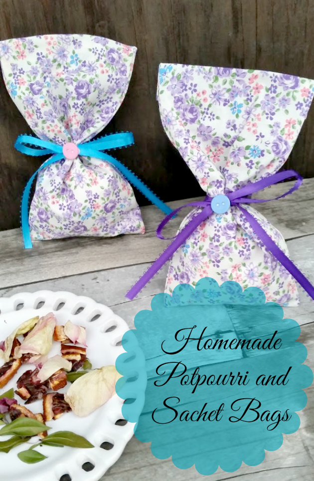 Save money and make these DIY room deodorizers! I use fresh fruit and flowers in this easy to make craft. These homemade potpourri sachet bags smell amazing!