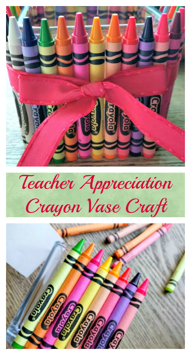If you want to show your kids favorite teacher how much you appreciate them,, why not make them this cute Crayon Vase for Teacher Appreciation Day