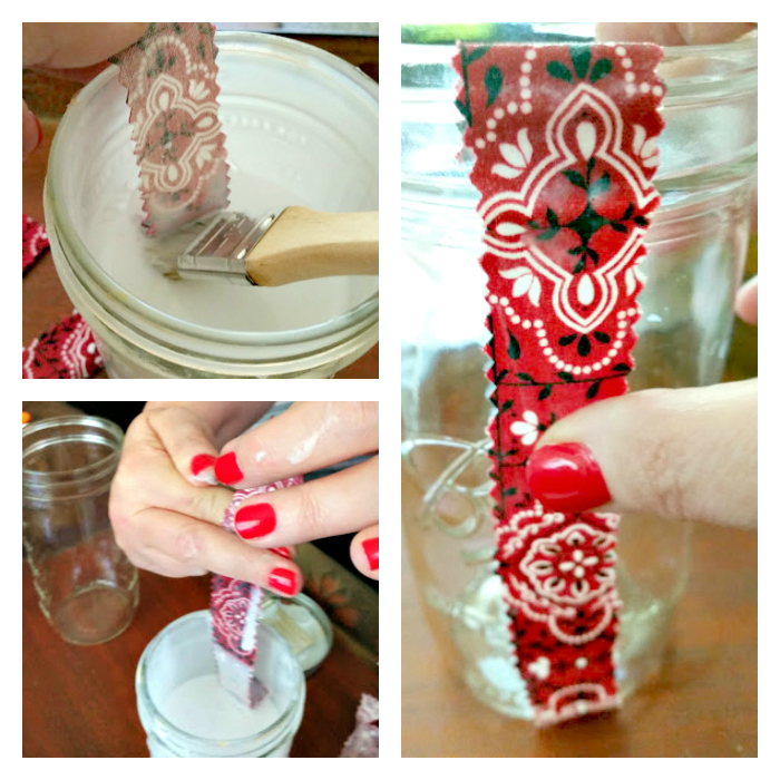 DIY Patriotic Fabric Mason Jars glueing fabric