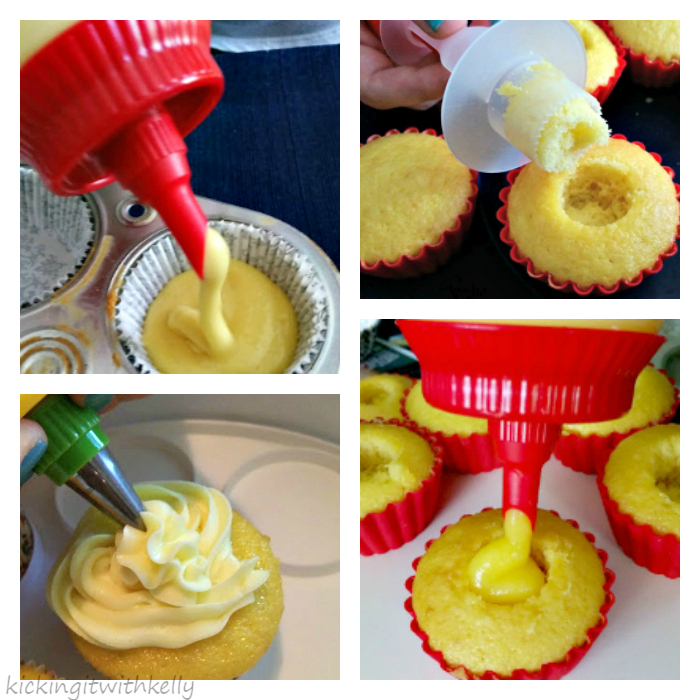 Pudding Filled Cupcakes With Zesty Lemon Buttercream Frosting Collage