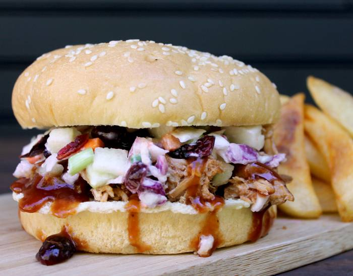 ... Pulled Pork Sandwich with Cranberry Apple Slaw - Kicking It With Kelly