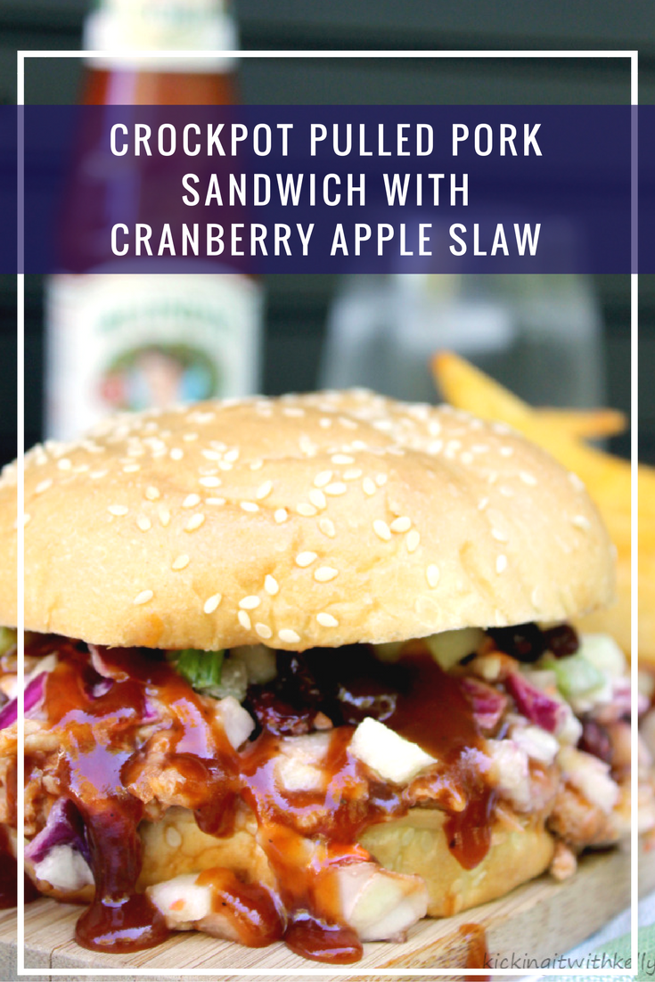 My Crockpot Pulled Pork Sandwich With Cranberry Apple Slaw is an easy tailgating recipe made with @SmithfieldBrand #RealFlavorRealFast #ad
