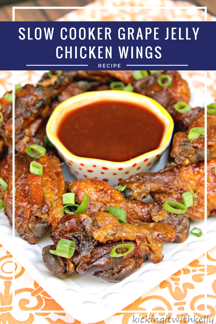 Are you looking for an easy tailgating recipe? These Slow Cooker Grape Jelly Chicken Wings are easy and so good!