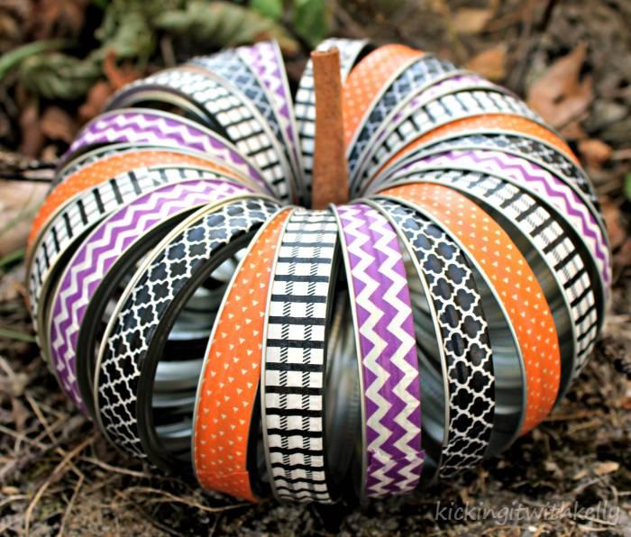 Washi Tape Mason Jar Bands Halloween Wreath outside