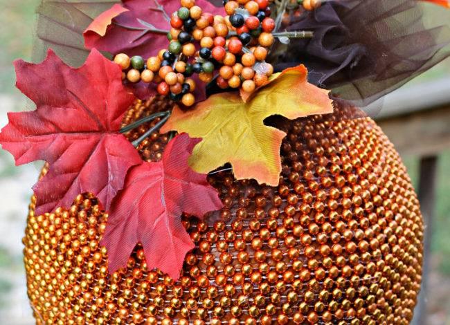 Fall Decoration Craft | DIY Beaded Pumpkin