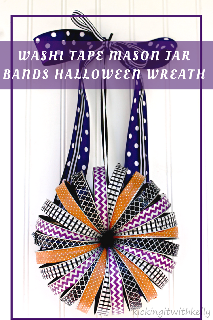 This Washi Tape Mason Jar Bands Halloween Wreath is an easy to make and affordable  Halloween decoration