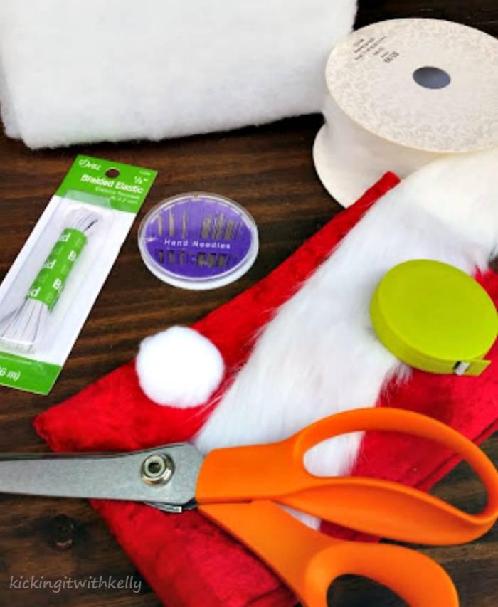 DIY Pet Santa Hat Tutorial supplies