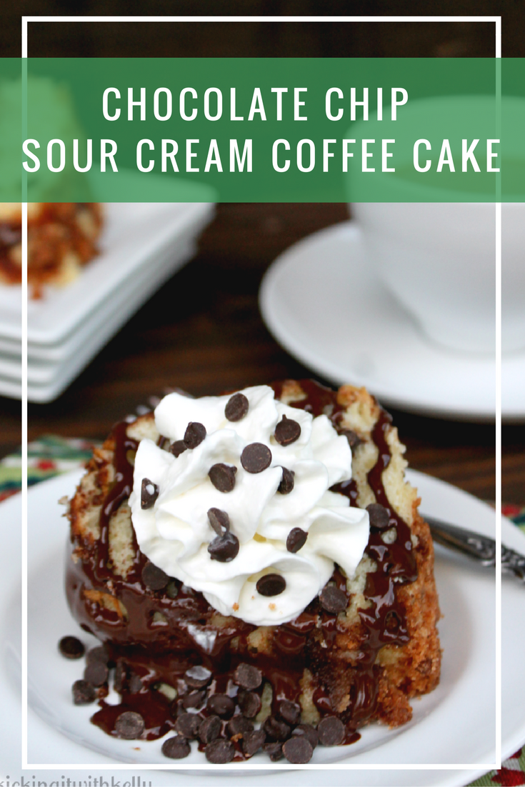 If you are craving something sweet in the morning, brew a pot of coffee and serve yourself a slice of my Chocolate Chip Sour Cream Coffee Cake
