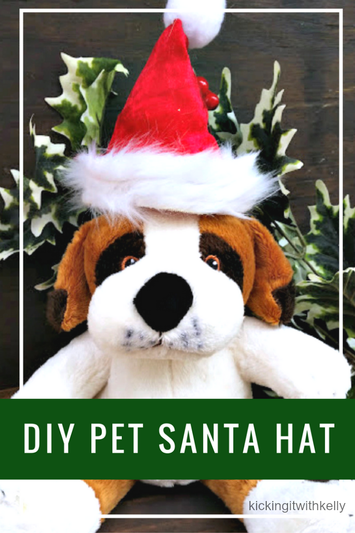 Get your pet into the holiday spirit with this fun DIY Pet Santa Hat Tutorial #ad #ToPetsWithLove