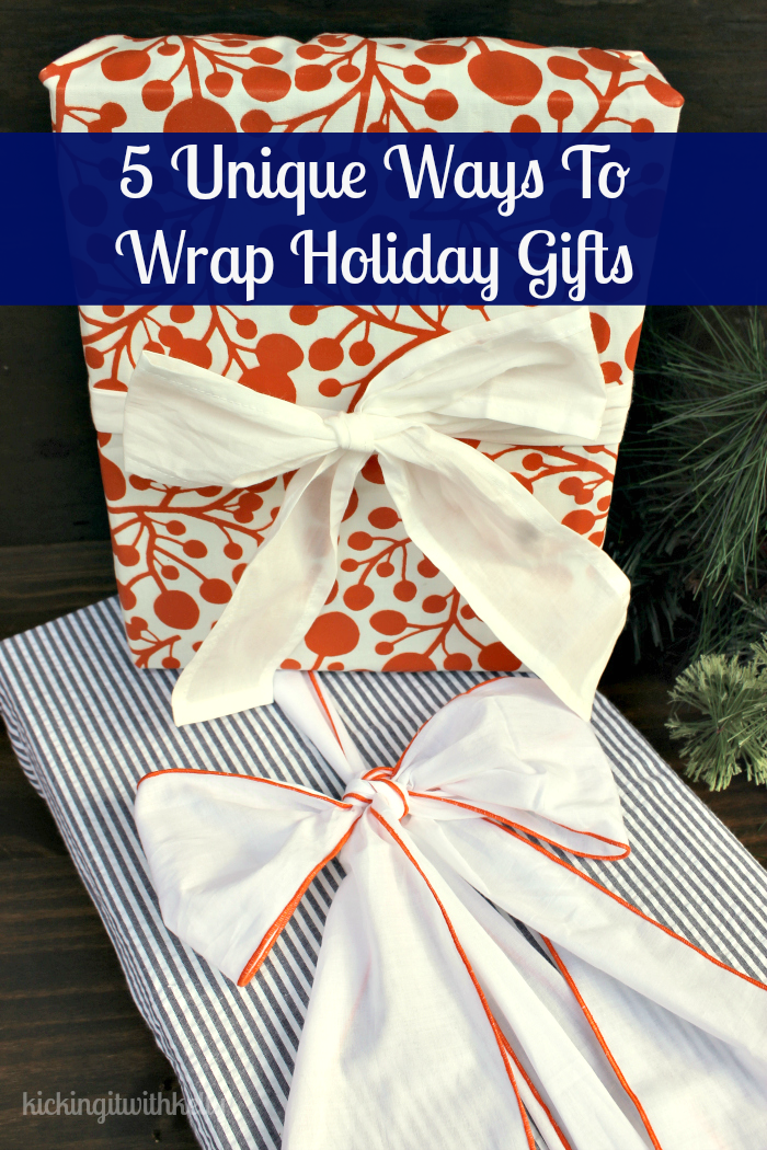 Don't you get tired of wrapping gifts with the same old store bought papers? This year, I decided to go off the beaten path with my unique ways to wrap your holiday gifts.