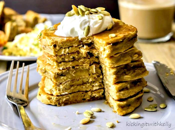 Pumpkin Spice Protein Pancakes - Kicking It With Kelly