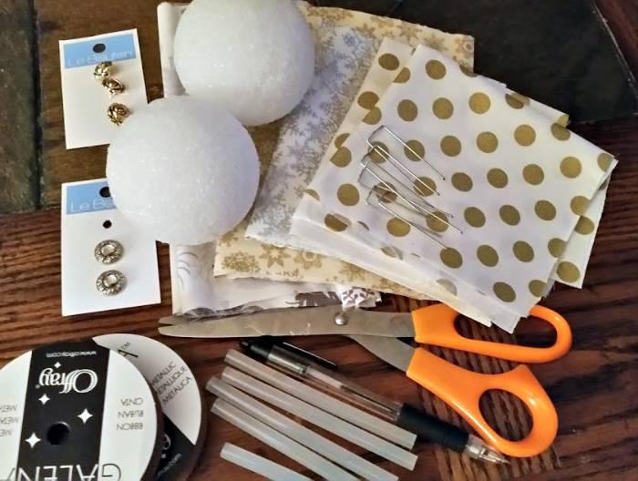 Handmade Christmas Rag Ball Ornaments supplies