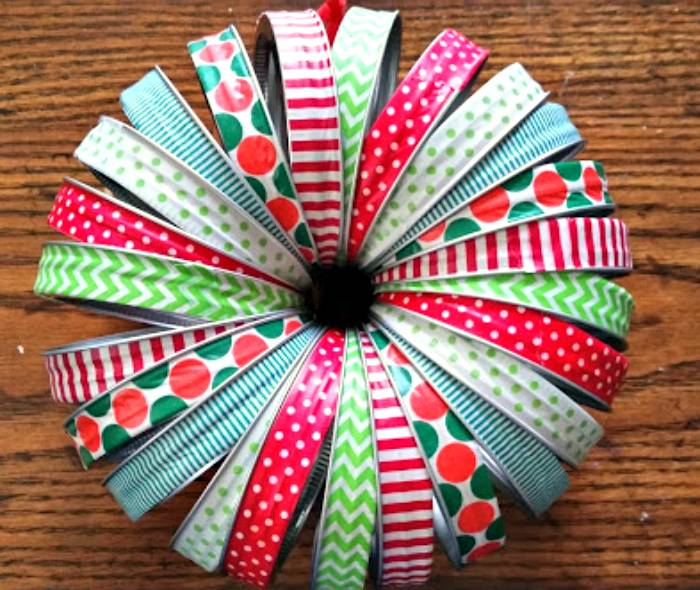 Washi Tape Mason Jar Lid Christmas Wreath finished