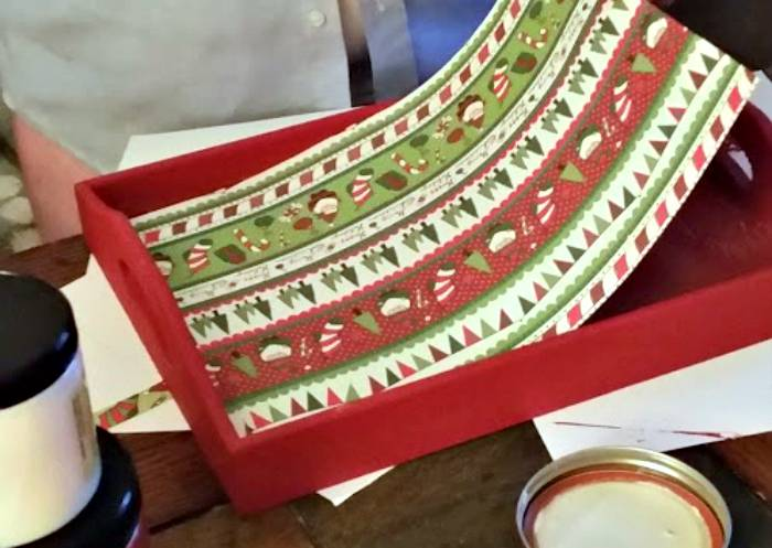 DIY Monogrammed Wooden Christmas Tray step two