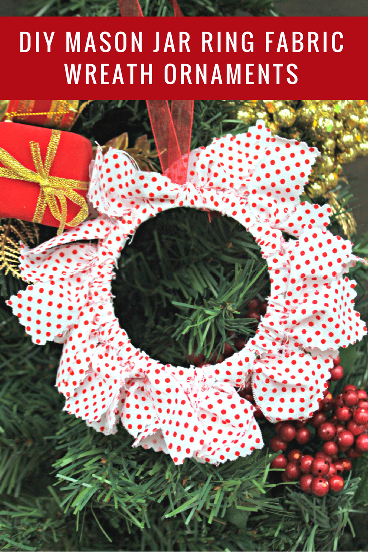 Every year my kids and I make Christmas decorations. This year, we are making these super cute DIY Mason Jar Ring Fabric Wreath Ornaments