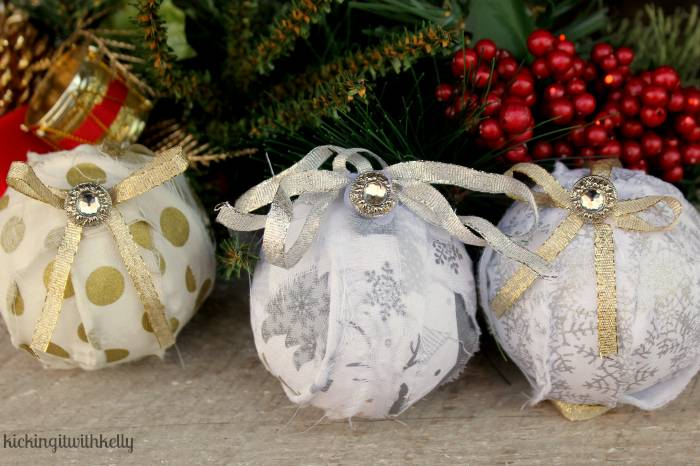 Handmade Christmas Rag Ball Ornaments