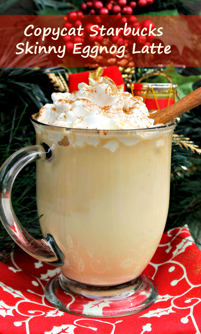 During the holidays, I used to look forward to the eggnog latte from Starbucks. Now I save money and make my Copycat Starbucks Skinny Eggnog Latte at home!