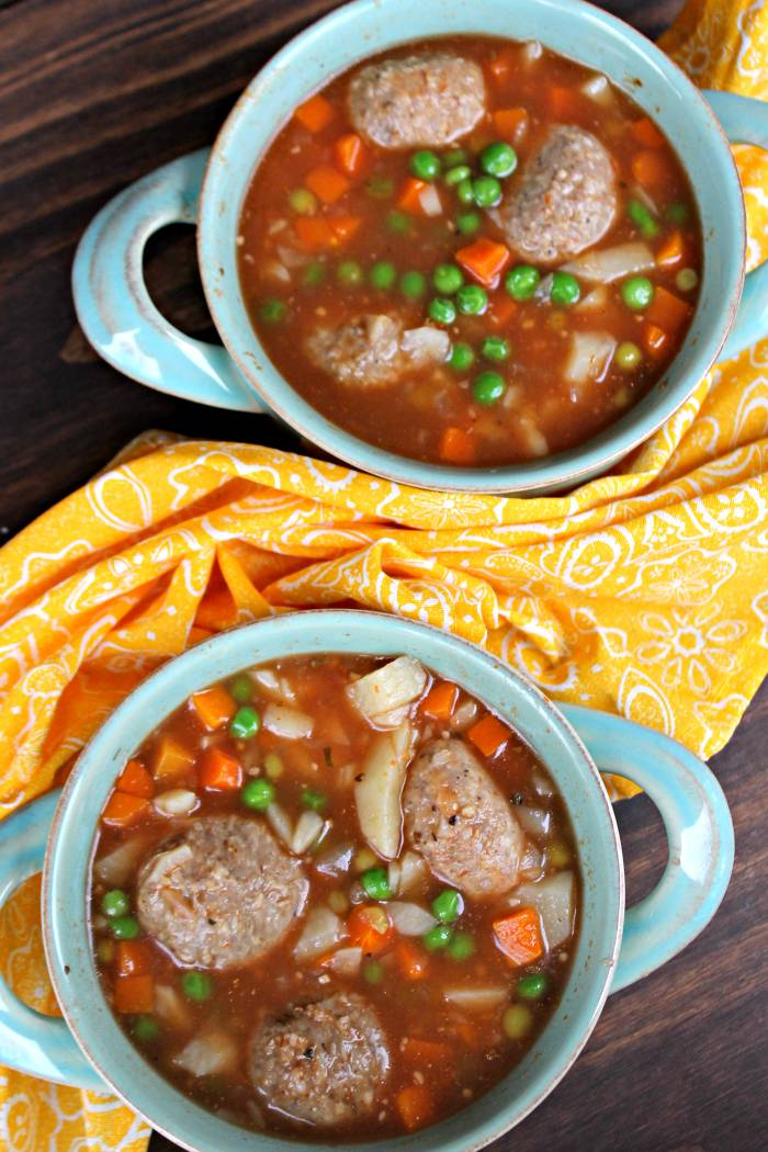 My Skinny Slow Cooker Meatball Soup is a hearty and healthy soup recipe that is so easy to make! It is the perfect meal for these chilly fall evenings!