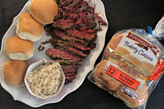 Beer Soaked Slow Cooker Pastrami Game Day Sliders platter