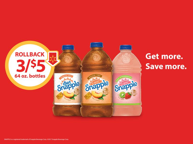 Shop at Walmart now through April 27th and snag three of your favorite Snapple drinks for only $5 #ad #SnappleRollback
