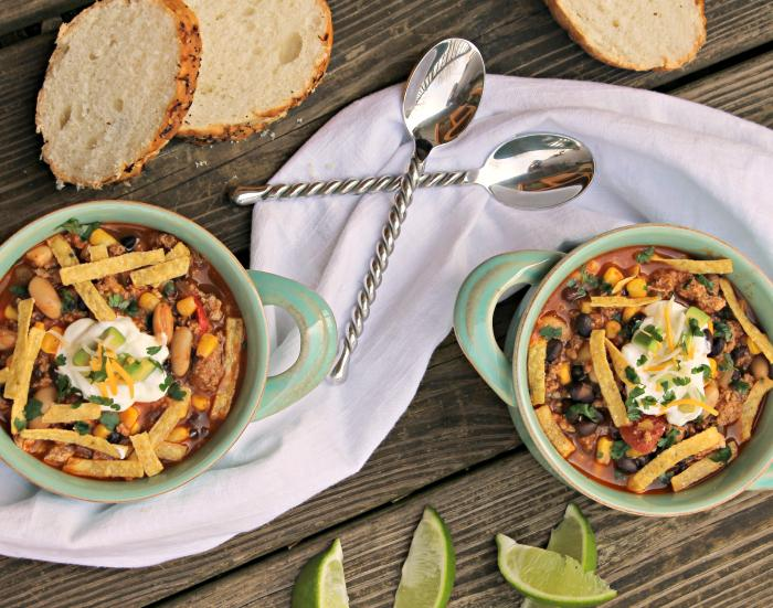 Skinny Slow Cooker Southwestern Black Bean Tortilla Soup sideways
