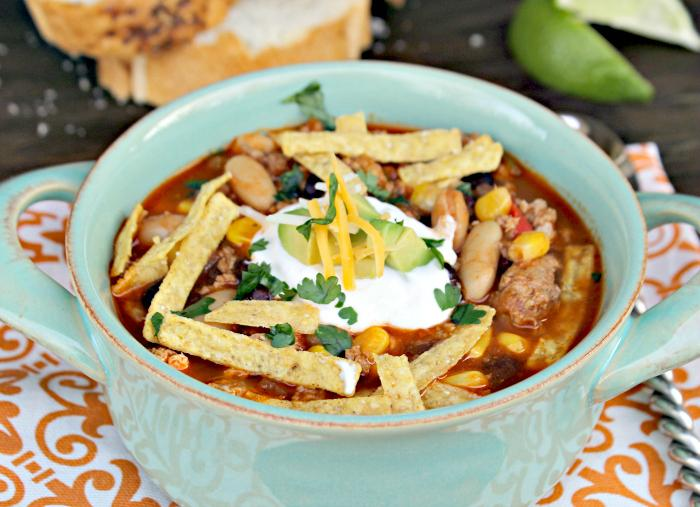 Skinny Slow Cooker Southwestern Black Bean Tortilla Soup