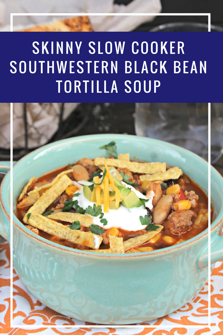Who said a hearty soup had to be loaded with calories? This Skinny Slow Cooker Southwestern Black Bean Tortilla Soup recipe is as healthy as it is packed with flavor!