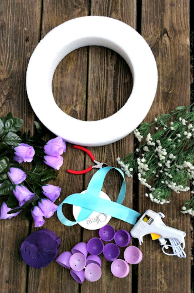 DIY Floral Easter Egg Wreath Tutorial supplies