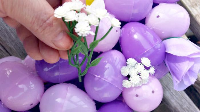 Easy To Make Plastic Easter Egg Wreath Craft flowers