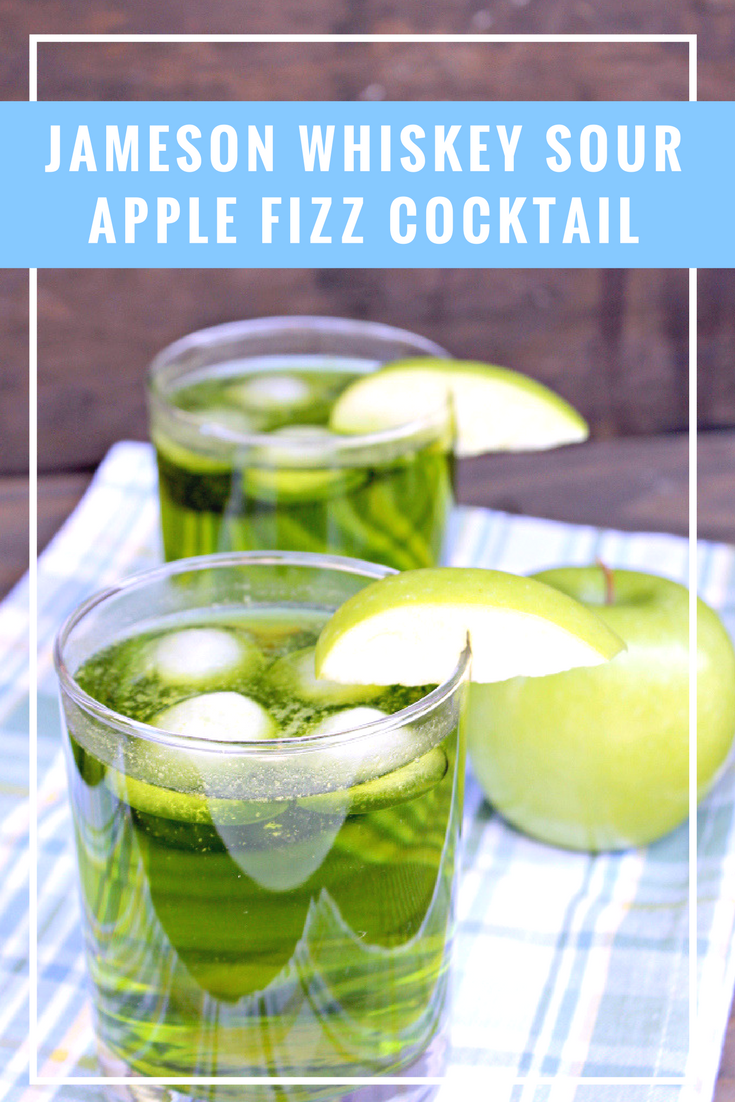 My Jameson Whiskey Sour Apple Fizz Cocktail is the perfect St. Patty's Day drink. It is also a great signature cocktail for your next party. #ad @drizly