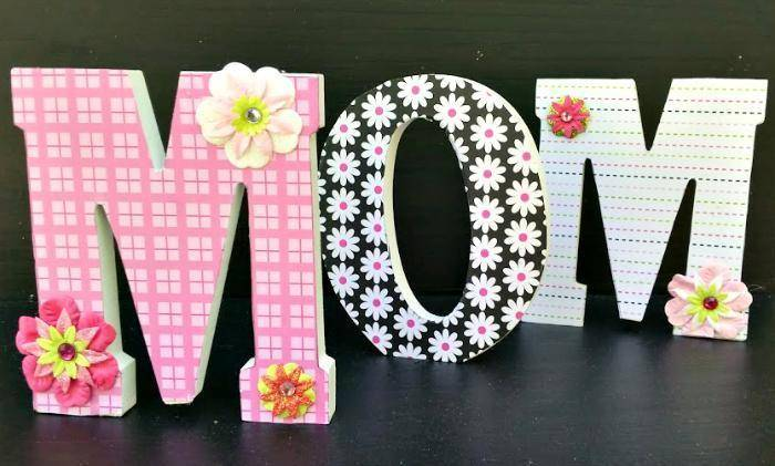 DIY Decorative Scrapbook Covered Wooden Letters 3